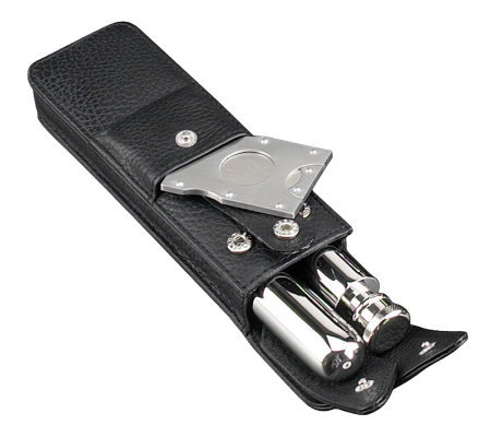Stainless Steel Flask and Cigar Case