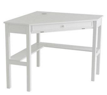 Lawrence Corner Desk with Keyboard Drawer - White Finish - H155536