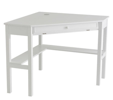 Lawrence Corner Desk with Keyboard Drawer - White Finish