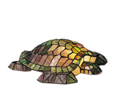 "Tiffany Style 4-1/2""H Turtle Glass Accent Lamp"