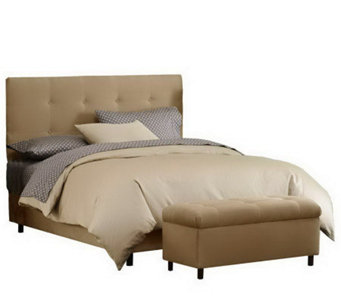 skyline furniture ultrasuede cal king headboard bench h187236