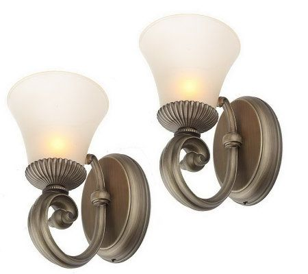CandleImpressio Set of 2 Wall Sconces w/ Glass Shades with Timer - Page 1 QVC.com