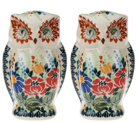Lidia's Polish Pottery Stoneware_Owl Salt & Pepper Shakers
