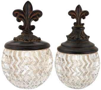 S/2 Decorative Glass Bowls with Fleur de Lis Top - H208036