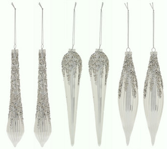 Set of 6 Glittered Icicle Ornaments by Valerie - H208736