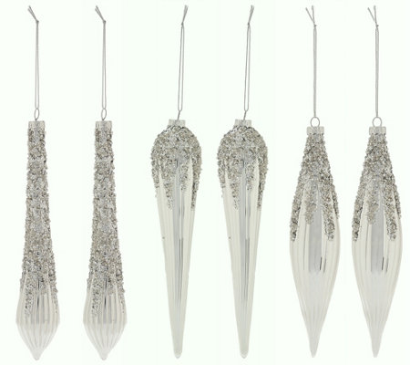 Set of 6 Glittered Icicle Ornaments by Valerie