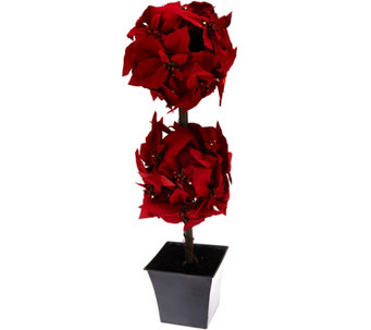 "Bethlehem Lights 30"" Prelit Poinsettia Topiary Tree - H210136"