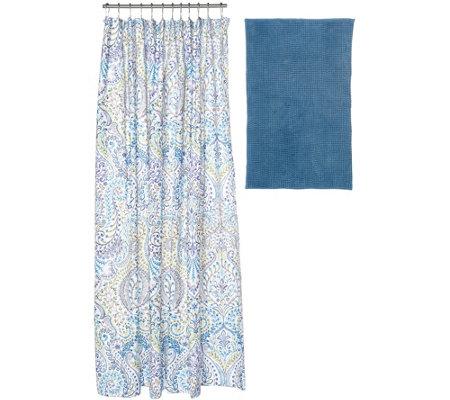 modern bath set with bath rug shower curtain