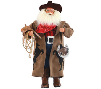 "18"" Cowboy Santa with Horseshoe by Santa's Workshop - H289536"