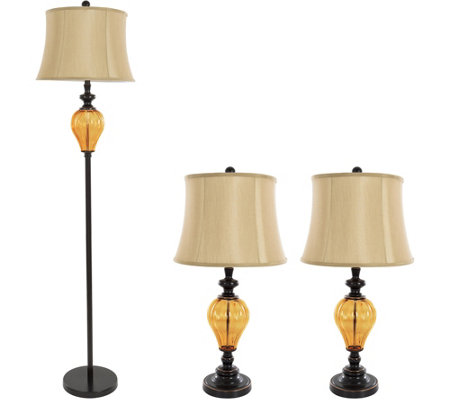 Lavish Home Table and Floor Lamps Set of 3, Amber Glass