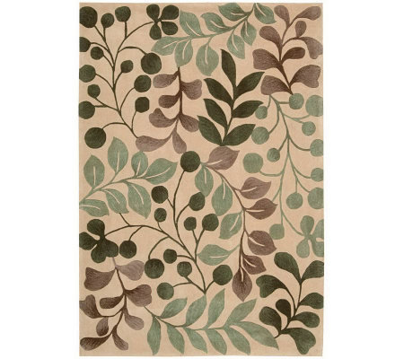 "Handtufted 3'6"" x 5'6"" Graphic Leaves Rug by Valerie"