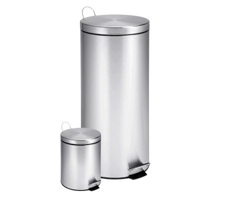 Honey-Can-Do Dual Pack Stainless Steel Round Step Trash Cans