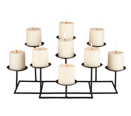 Nine Candle Metal Candelabra
