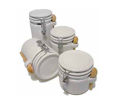4 piece white stoneware kitchen canister set qvc com circa white ceramic kitchen canister set