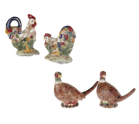 4 -piece Rooster and Pheasant Salt&PepperSet by Valerie