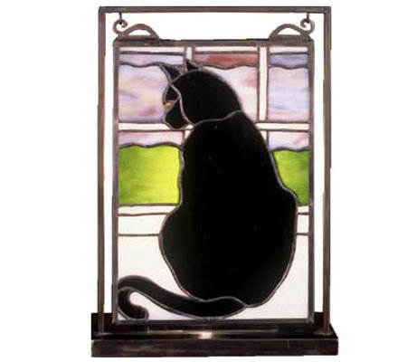 Tiffany Style Cat Mini Window Panel and Display