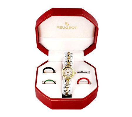 Peugeot Women's Five Interchangeable Bezels Watch Gift Set