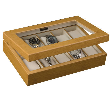 "Mele & Co. ""Logan"" Glass Top Watch Box in Bamboo"