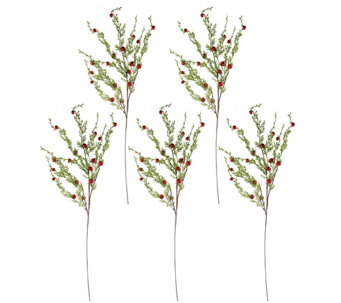"Set of 5 26"" Cascading Jingle Bell Stems by Valerie - H208737"