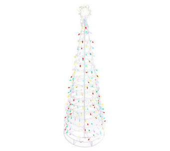 """As Is"" Santa's Best 6' Collapsible Outdoor Pre-lit Tree w/ Lights - H209937"