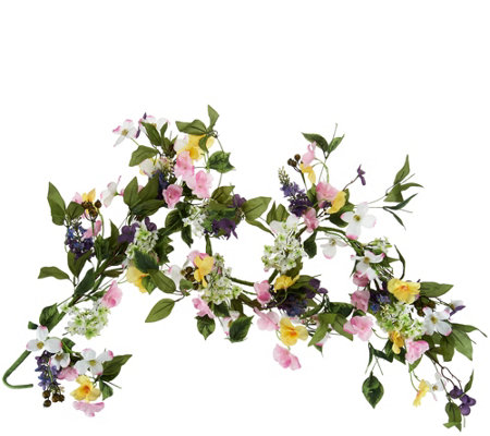 4' Mixed Floral Dogwood and Hydrangea Garland by Valerie