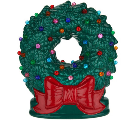 """As Is"" Mr. Christmas 9"" Illuminated Nostalgic Tabletop Wreath"