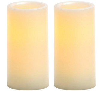 "Candle Impressions S/2 6"" Flameless Pillar Candles - H286637"