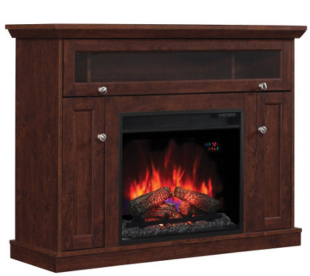 Twin Star Convertible TV & Media Mantel Fireplace W Remote