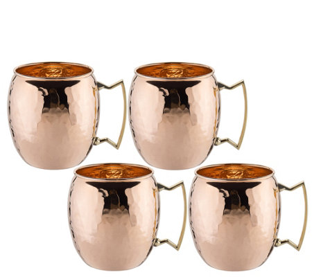 Old Dutch Set of 4 Hammered Solid Copper MoscowMule Mugs