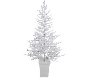 5' Potted Flocked Winter Twig Tree by Vickerman - H289837