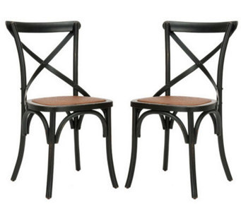 Set of 2 Soild Oakwood Construction Crossback Chairs - H349037