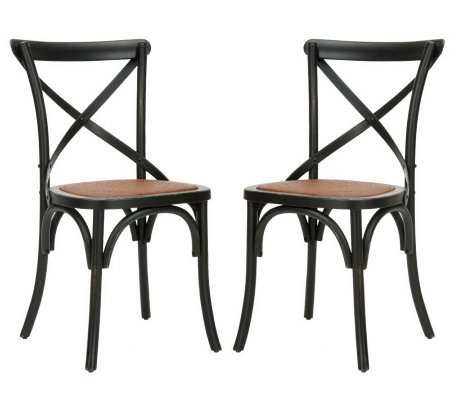 Set of 2 Soild Oakwood Construction Crossback Chairs
