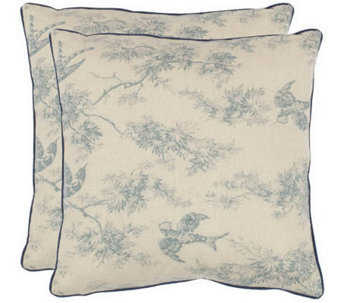 "Safavieh Set of 2 18""x18"" Katie Floral AppliqueToile Pillows - H360637"