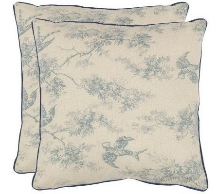 "Safavieh Set of 2 18""x18"" Katie Floral AppliqueToile Pillows"