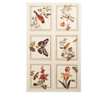 Royal Palace Garden Party 3' x 5' 90L Petit Point Hand-hooked Rug