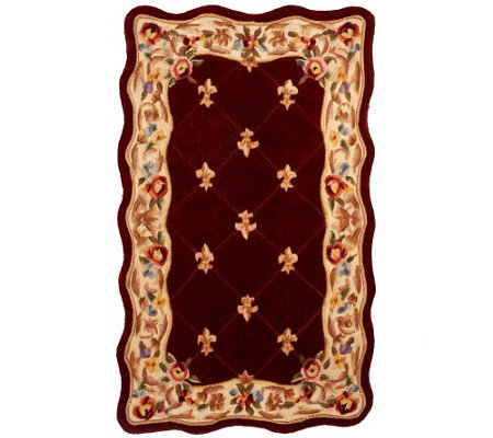 Royal Palace Fleur De Lis Scallop 3' x 5' Wool Rug