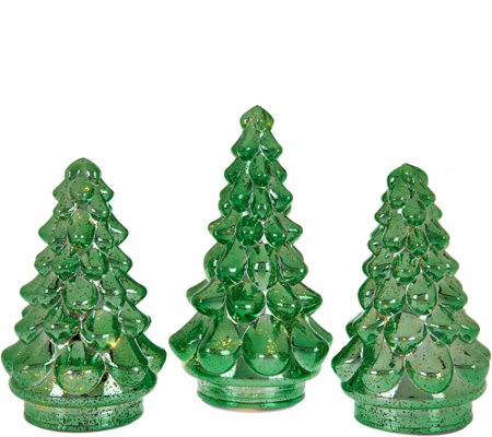 set of 3 illuminated mercury glass graduated christmas trees - 3 Christmas Tree