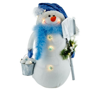 """As Is"" Bethlehem Lights 18"" Snowman with Feathers - H210338"