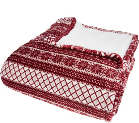 Berkshire Full Fair Isle Velvet Soft Reverse to Sherpa Blanket