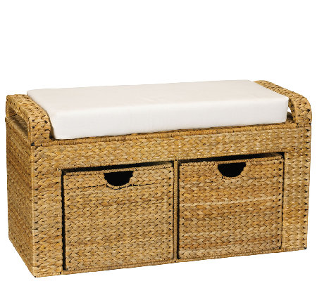 Household Essentials Banana Leaf Cushioned Storage Bench
