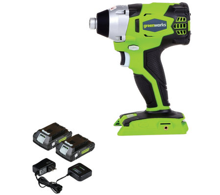 Greenworks G24 24V Impact driver w/ batteries &charger