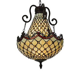 "Tiffany Style 16""W Diamond & Jewel Pendant Light - H355938"