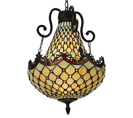 "Tiffany Style 16""W Diamond & Jewel Pendant Light"