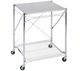 Honey-Can-Do Stainless Steel Folding Urban WorkTable - H357038