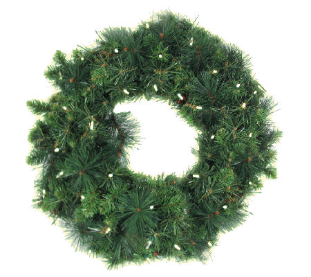 35-LED Anchorage Fir Pine Wreath