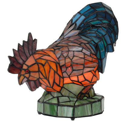 Handcrafted Tiffany Style Rooster Accent Lamp Page 1