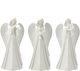 Kringle Express Set of 3 Porcelain Angels with Instruments - H205839