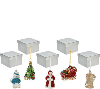 Set of 5 Mercury Glass Ornaments with Gift Boxes by Valerie - H206639