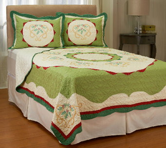 Holiday Ivy 100% Cotton Twin Pieced Quilt w/ Shams - H206739