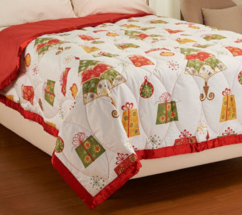 Northern Nights Holiday Cheer 300TC 550 FP Winterweight FL Down Blanket - H206839